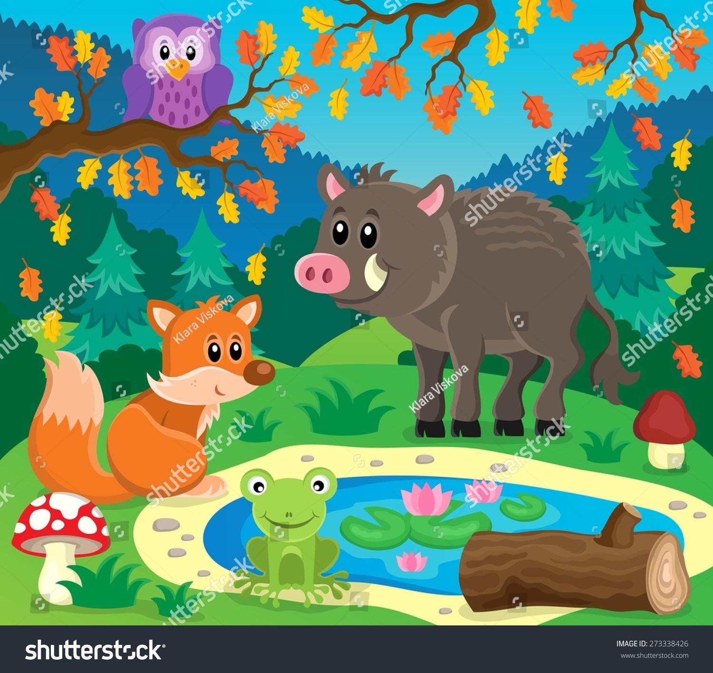 森林动物主题图像2 - eps10矢量插图.-动物/野生生物