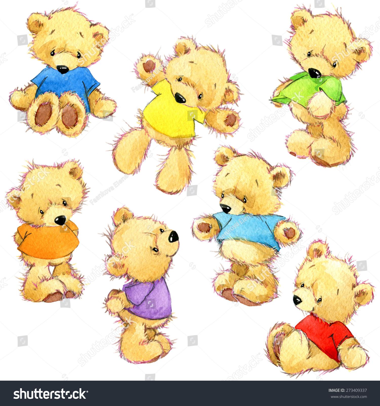 泰迪熊彩虹色集.儿童生日的水彩插图-动物/野生生物