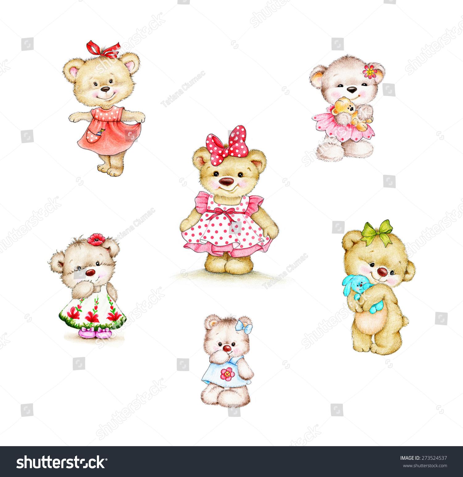 可爱的泰迪熊女孩-背景/素材,艺术-海洛创意(hellorf)