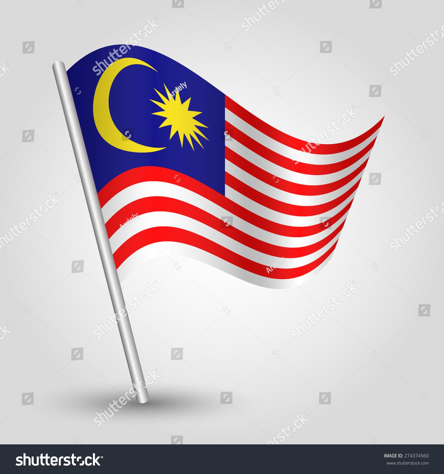 向量挥舞着简单的三角形马来西亚国旗与倾斜金属杆—