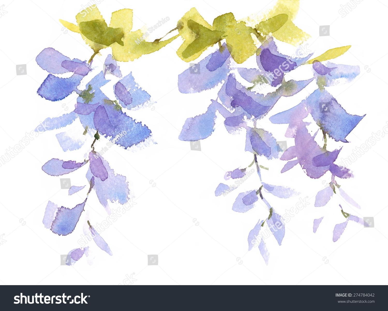 水彩淡紫色蓝色花朵紫藤手绘花卉抽象背景纹理插图