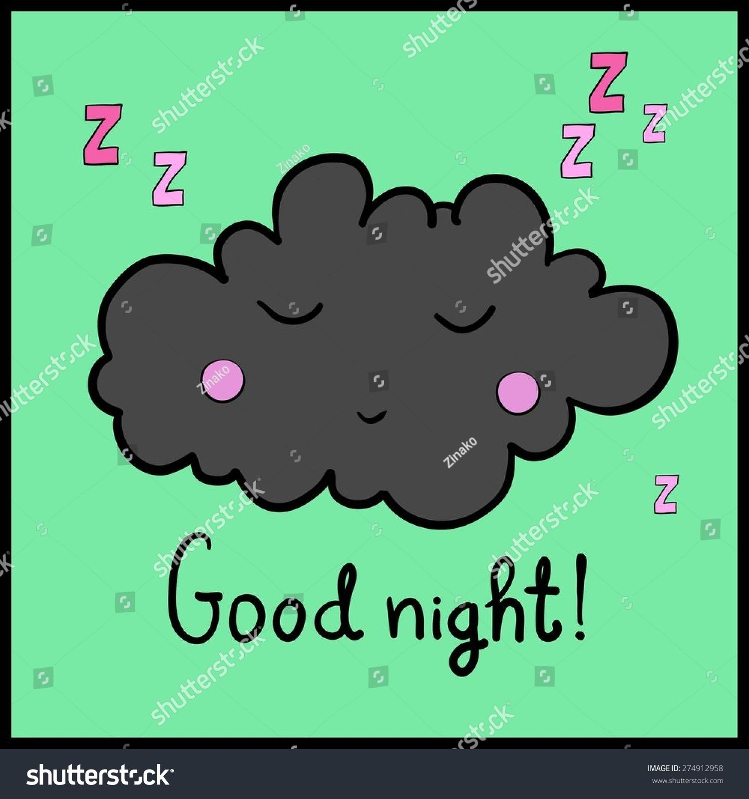 卡通白睡云在绿色背景上.晚安!黑色的框架.矢量插图