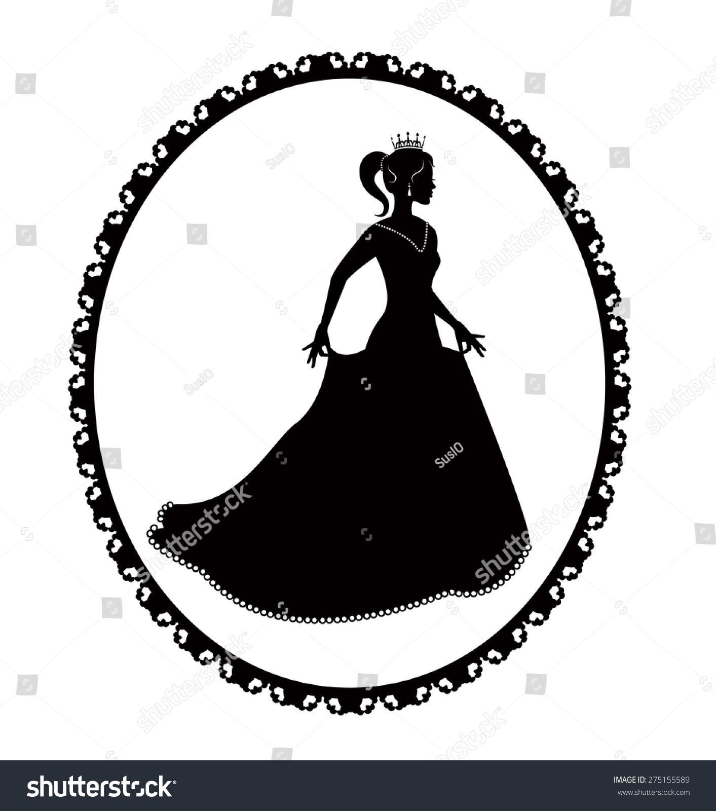 公主的黑色剪影一条长裙,复古的框架-人物,复古风格
