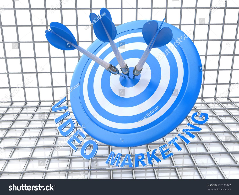 成功经营理念:箭击中目标的中心,蓝色的视频营销,3 d