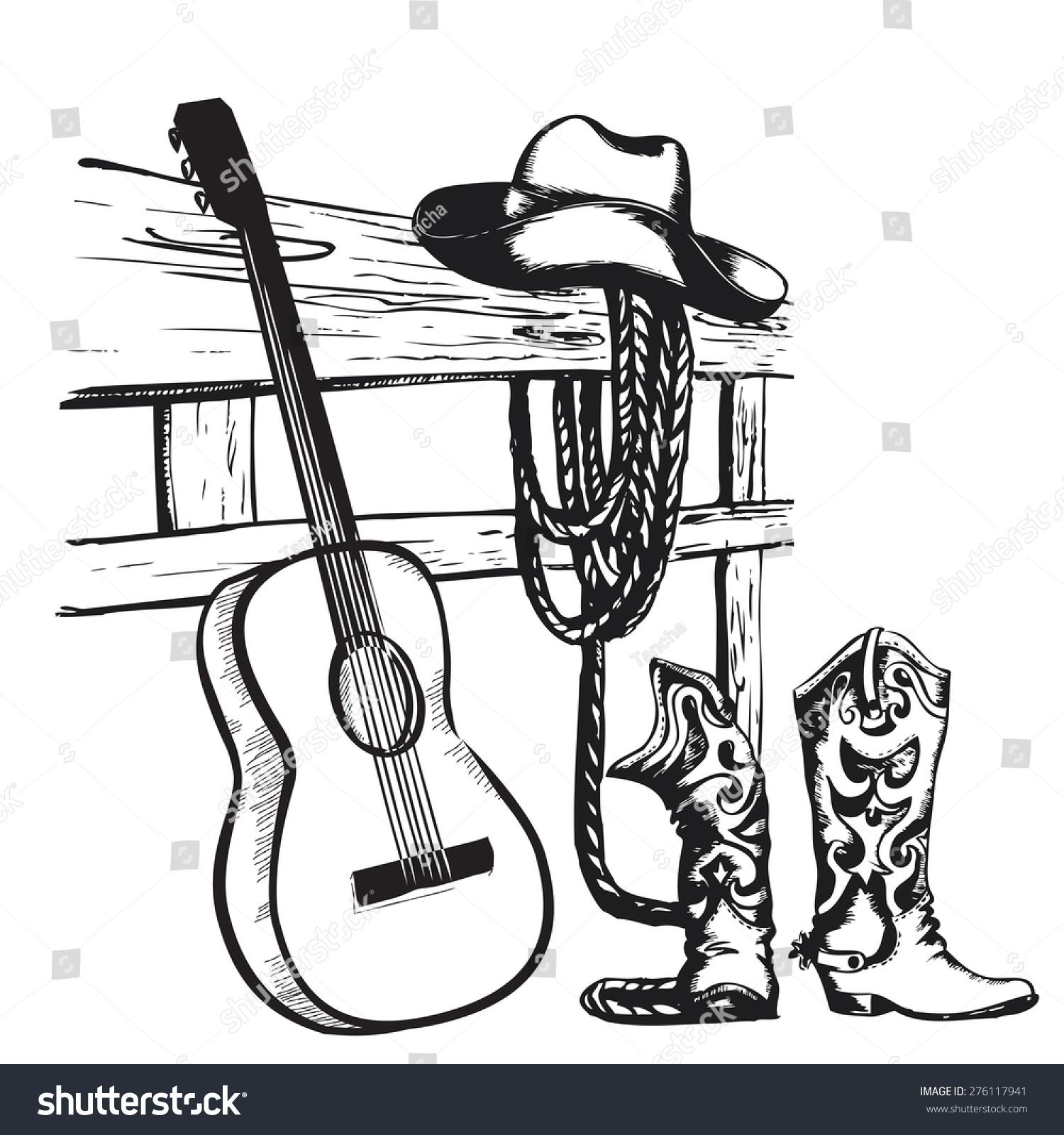 吉他照片手绘图片