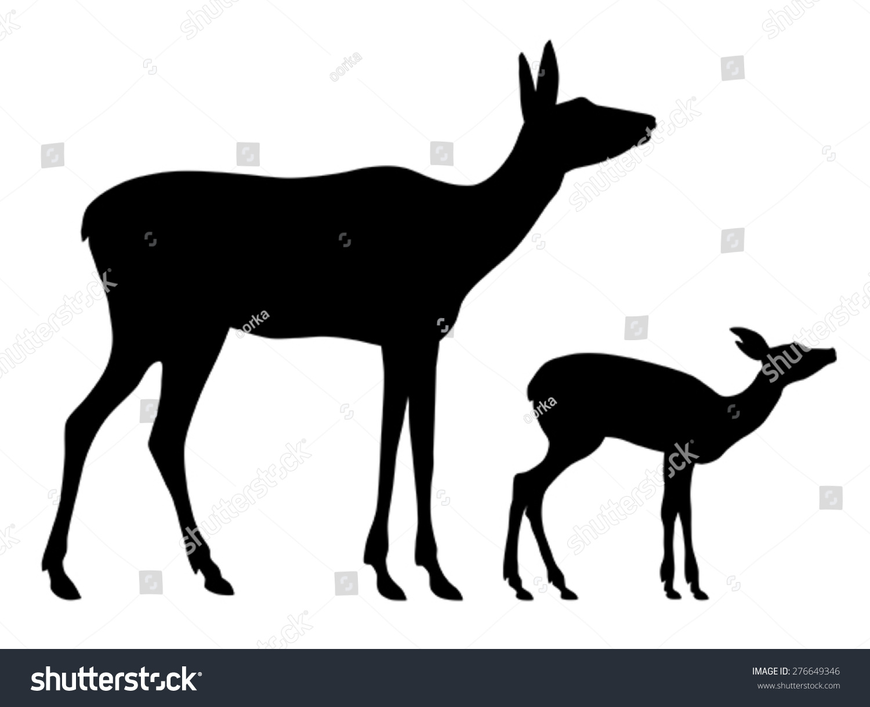 母鹿和她的孩子的轮廓的矢量插图
