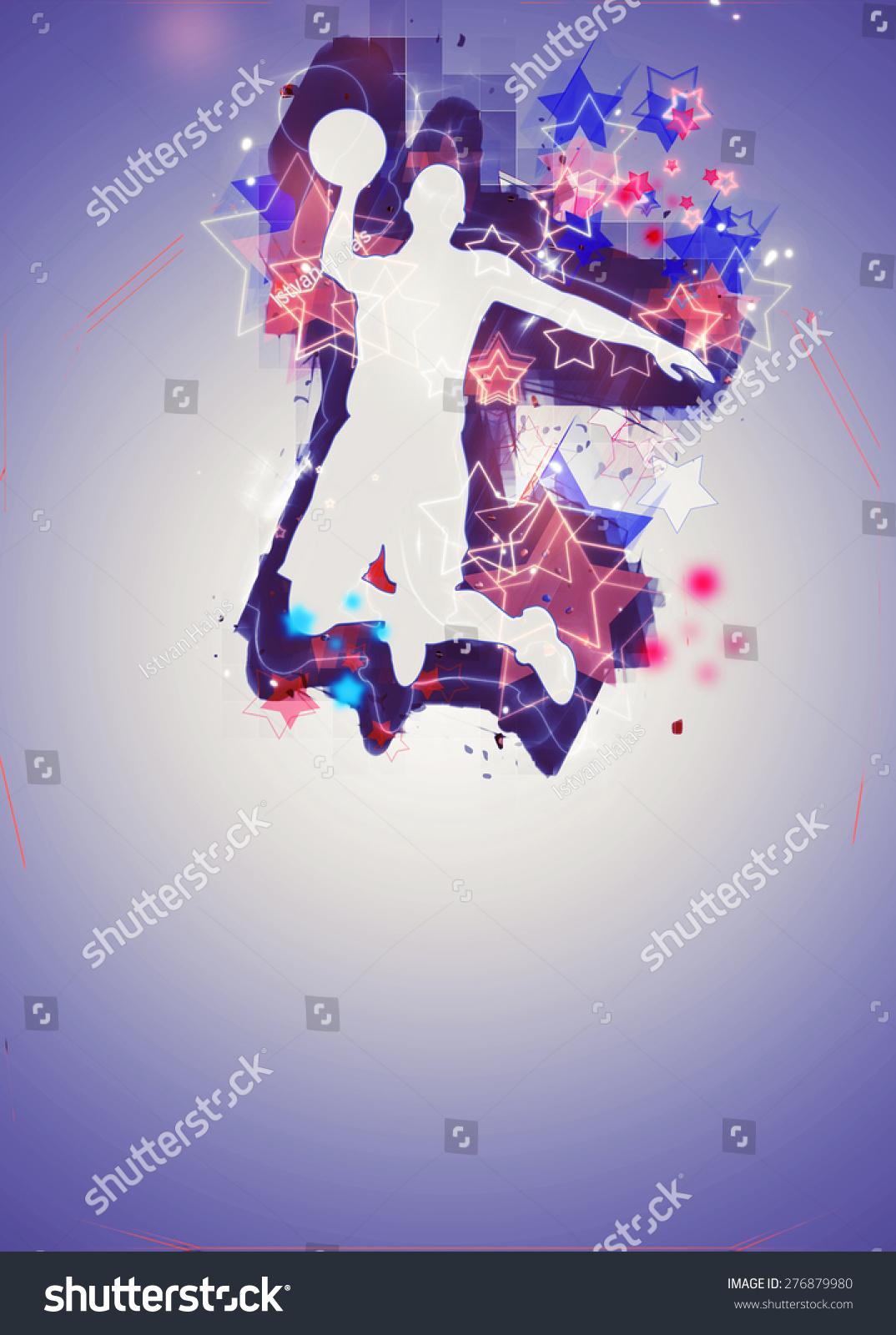 或街头篮球:篮球运动员跳跃或传单海报背景与空间