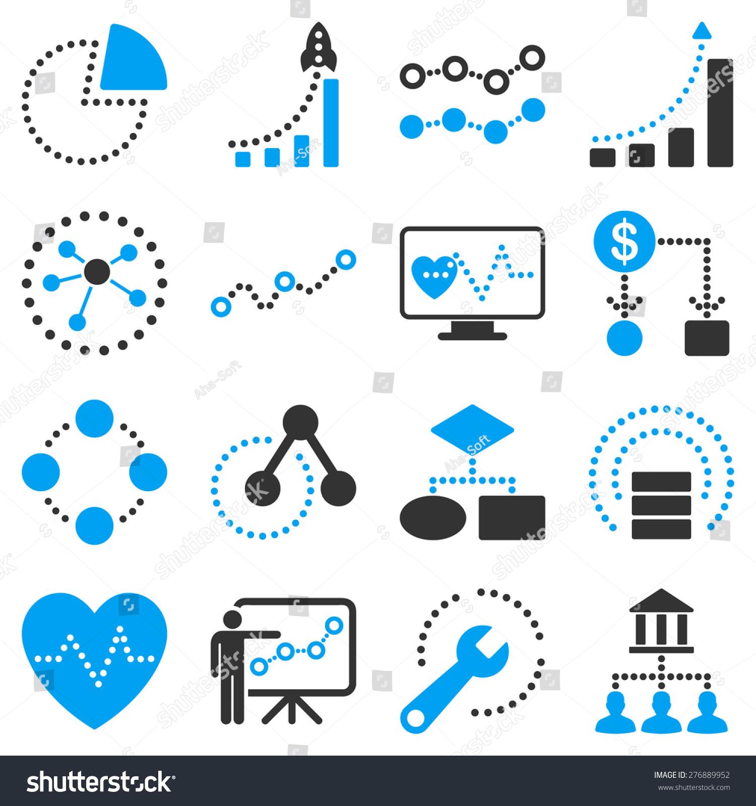 虚线业务图标矢量图.这二色的矢量图标组使用现代企业