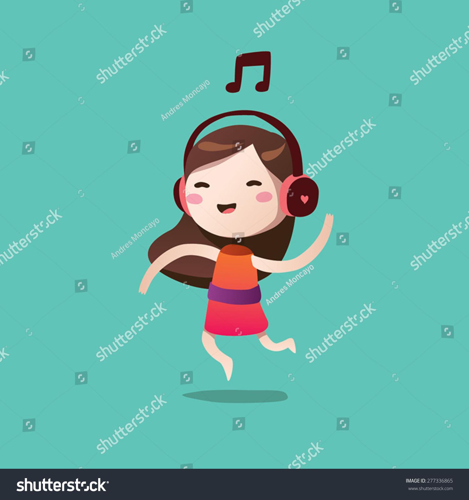 女孩可爱矢量卡通音乐-人物-海洛创意(hellorf)-中国
