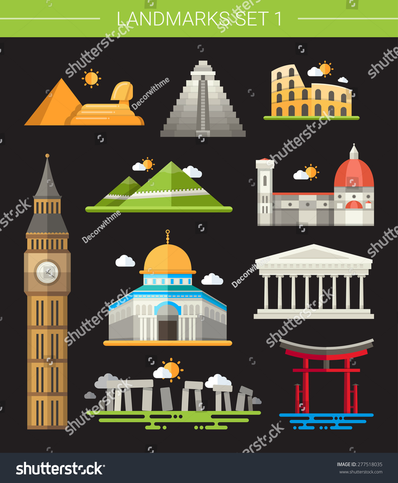 一套平面设计世界著名地标图标-建筑物/地标,背景/-()