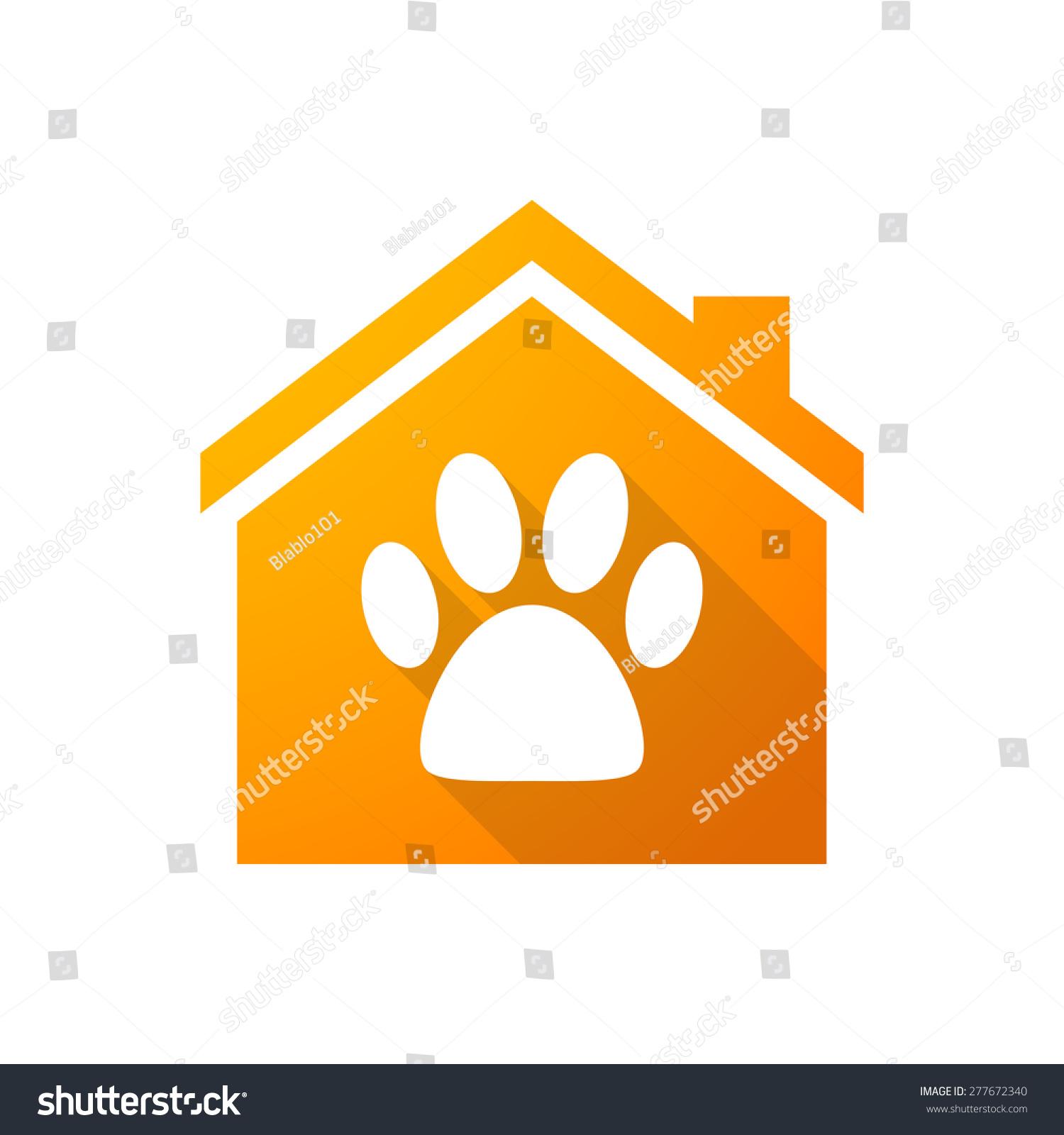 说明一个橙色的房子图标和一个动物的足迹-符号/标志