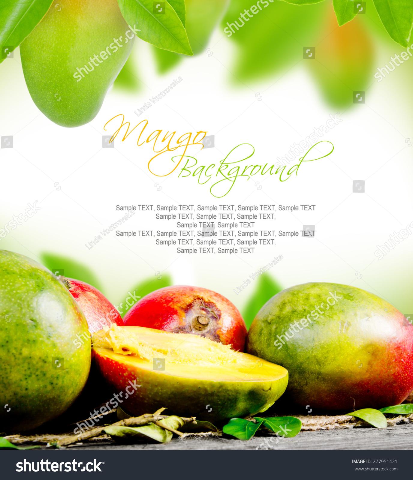 抽象背景做的芒果和树叶-背景/素材,食品及饮料-海洛
