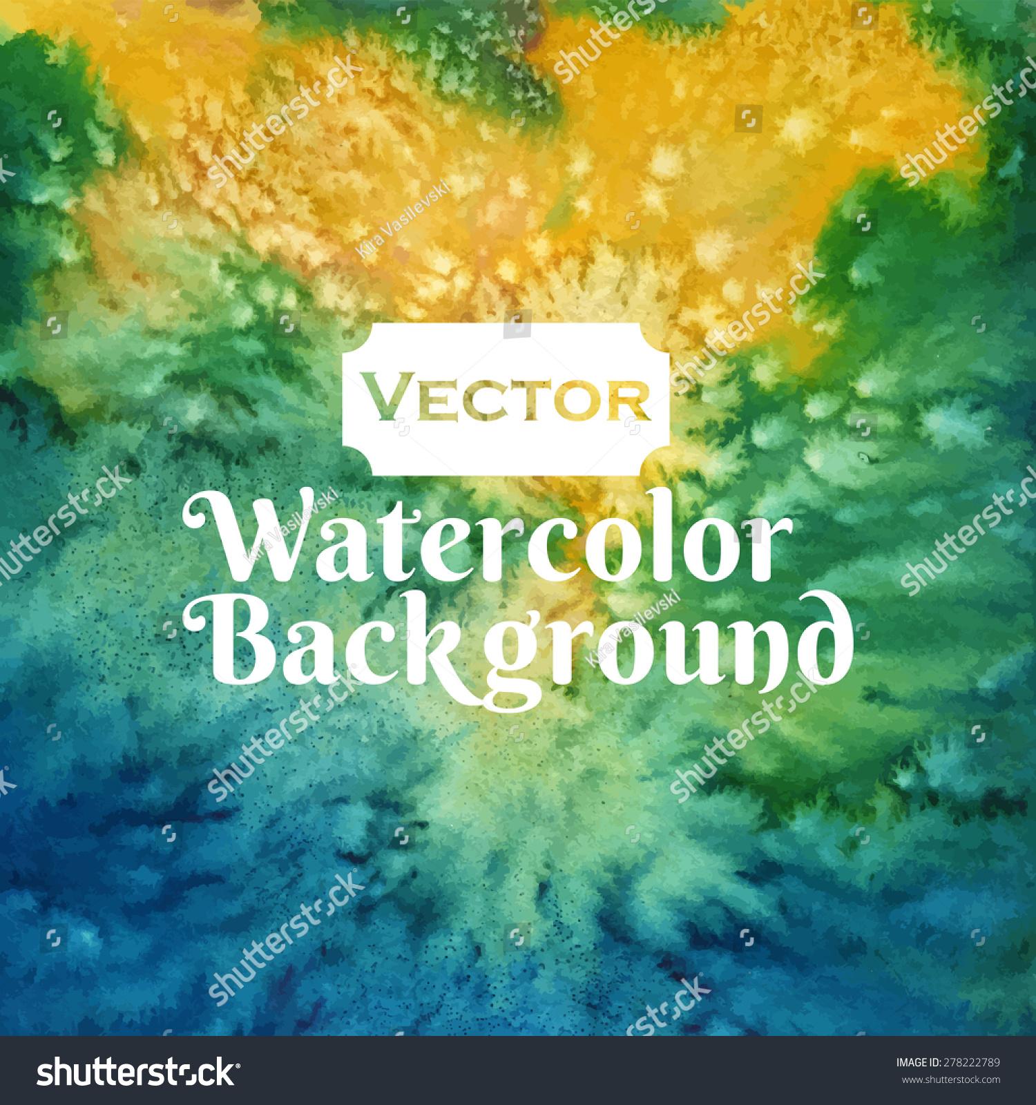 水彩向量黄绿色和蓝绿色盐背景-背景/素材,抽象-海洛