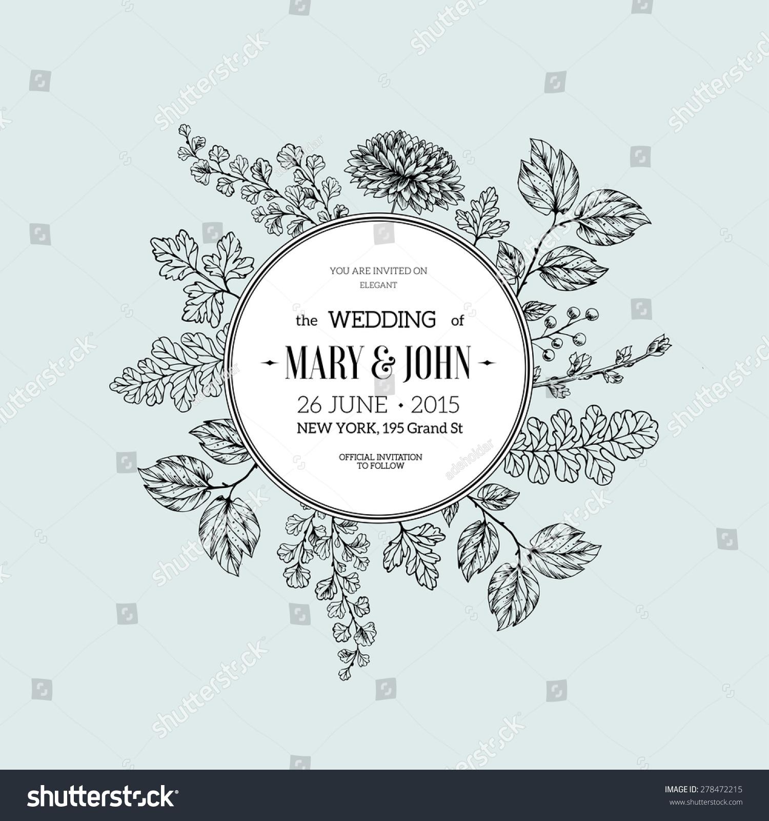 手绘花卉的婚礼的邀请.矢量图-背景/素材,复古风格-()