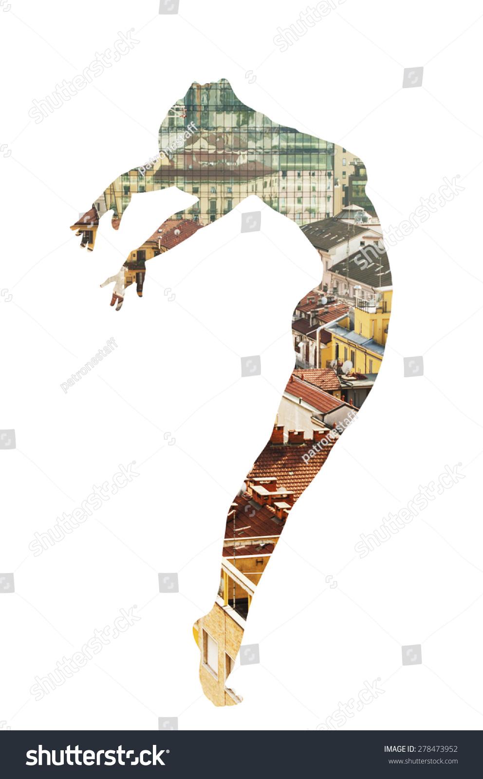 古典舞和城市景观的双重曝光-人物,抽象-海洛创意()-.