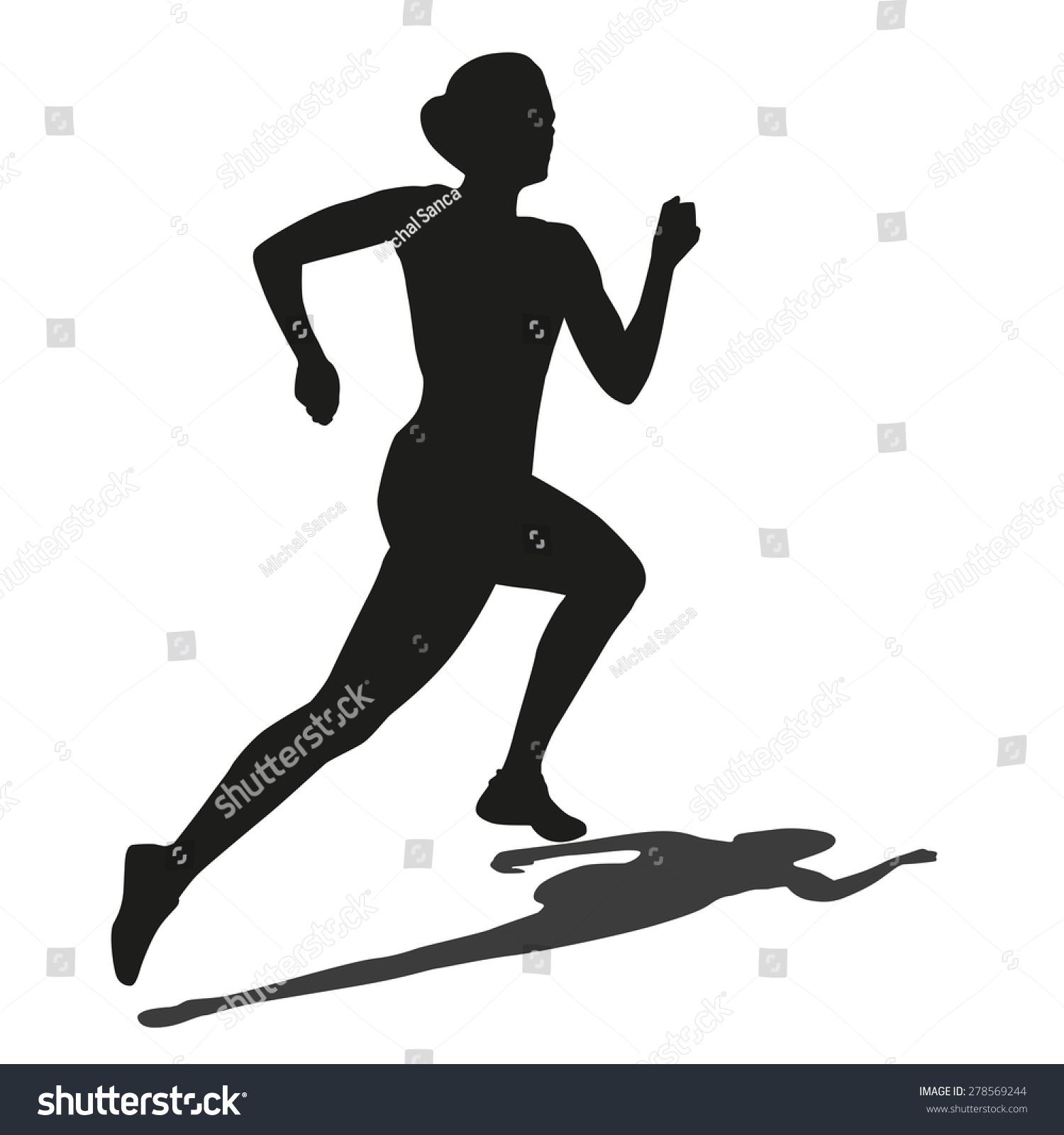 跑步的女人的影子.矢量剪影-人物,运动/娱乐活动-海洛