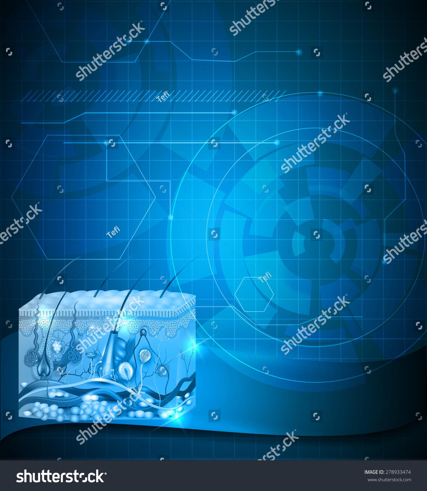 皮肤解剖学抽象的蓝色背景,科学设计-背景/素材,医疗