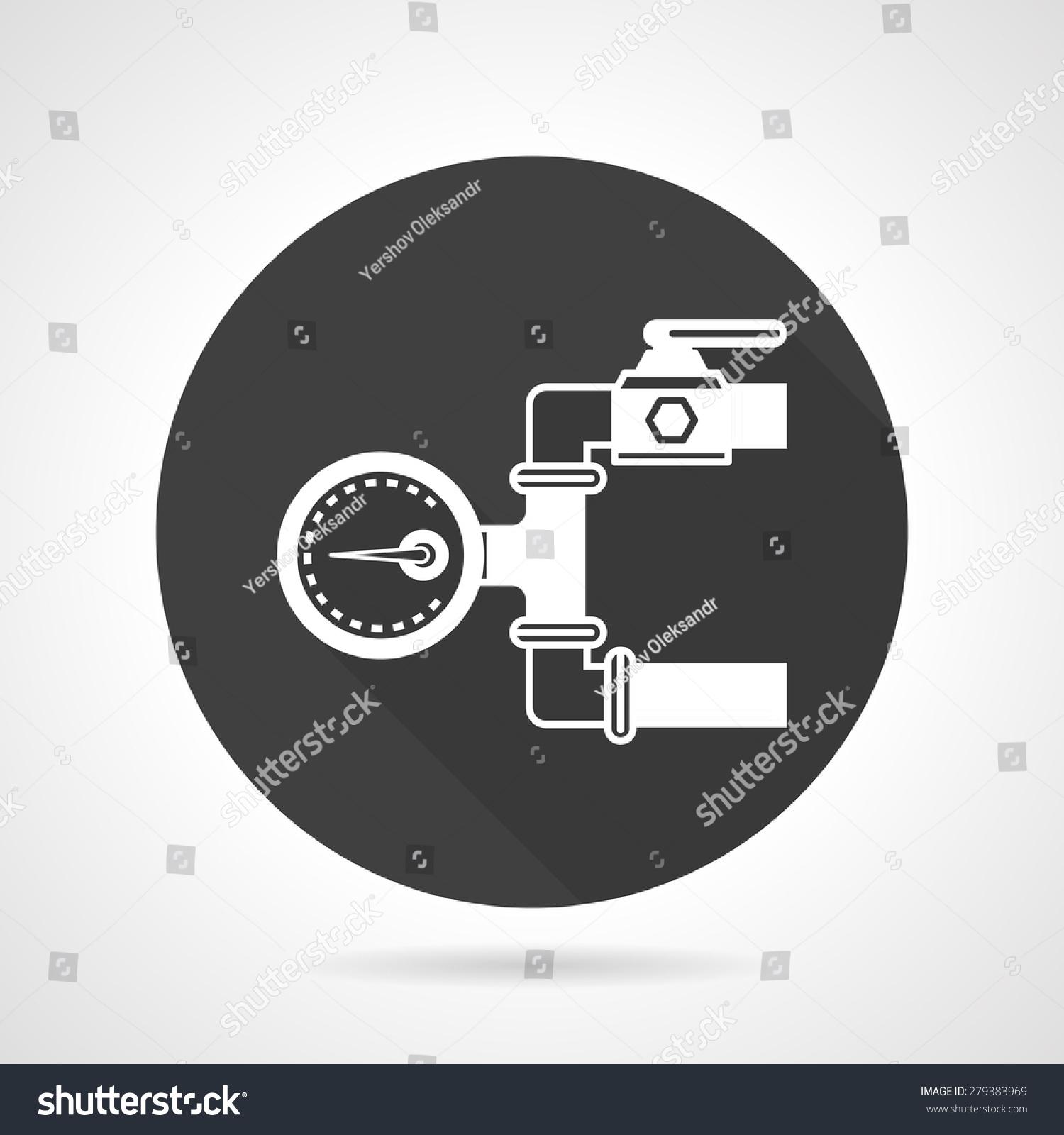 扁圆形的黑色矢量图标以灰色背景的白色剪影,管道压力