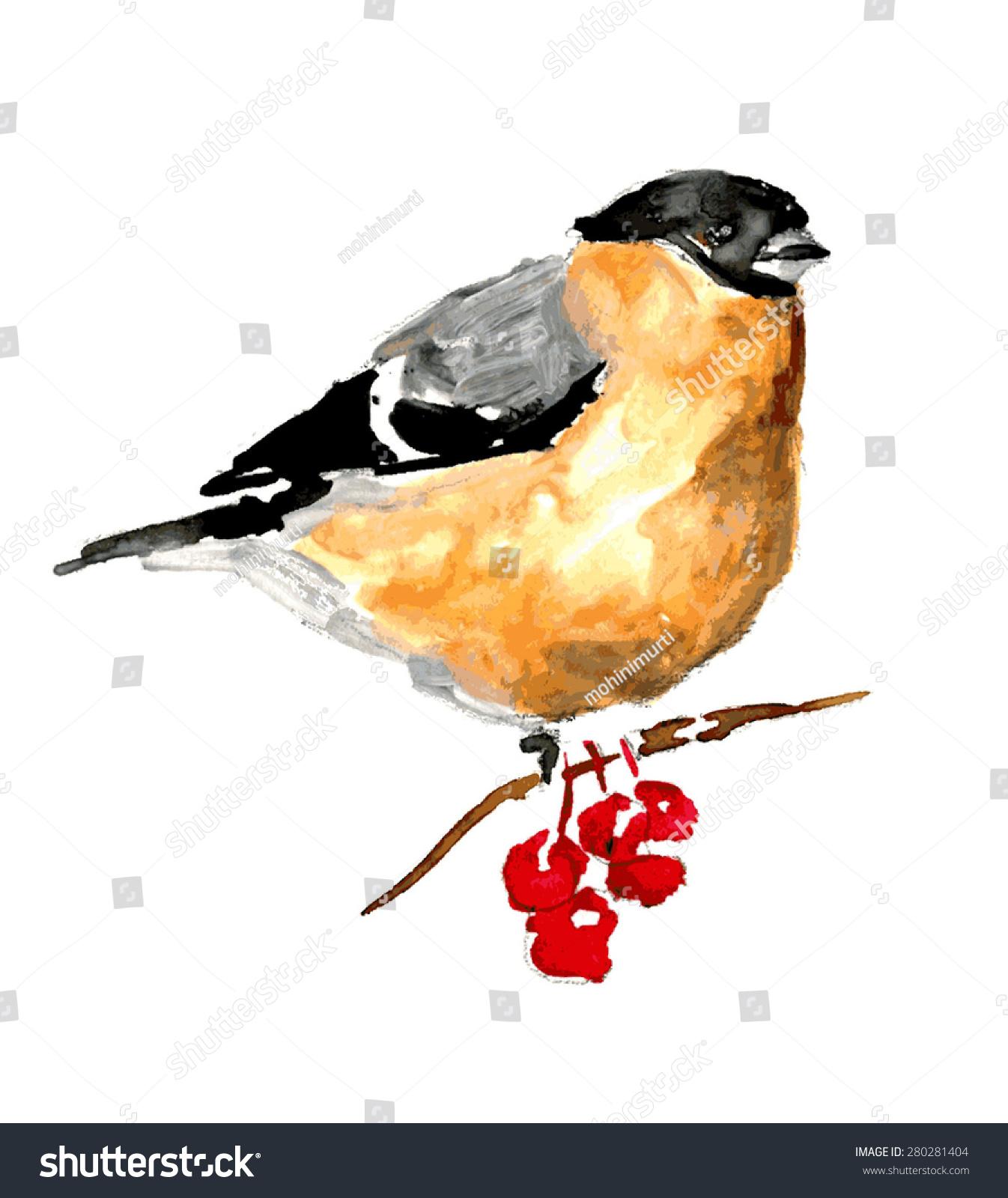 鸟水彩画插图-动物/野生生物,抽象-海洛创意(hellorf)