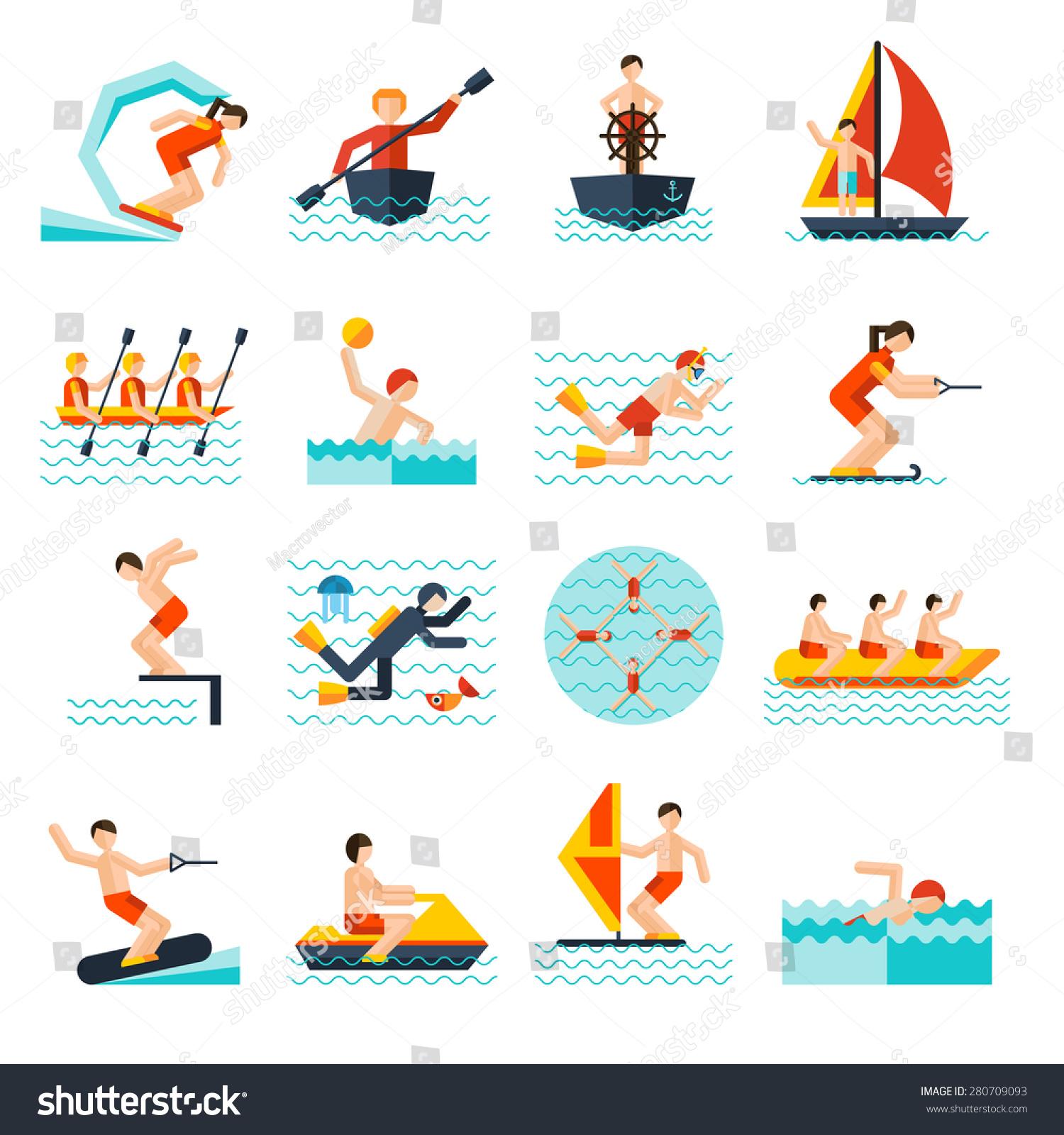 水上运动平面图标集风筝独木舟航行孤立的矢量图