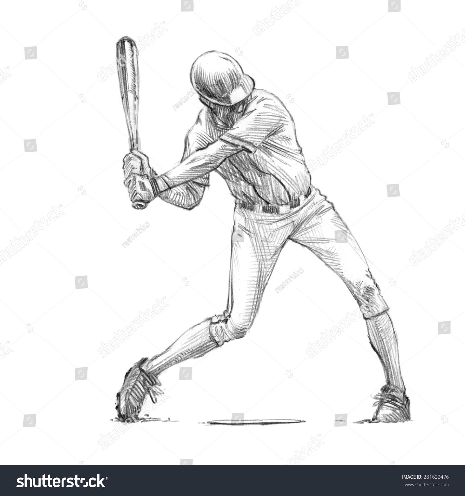 棒球运动员的运动系列/粗略的铅笔绘图/面糊/高分辨率