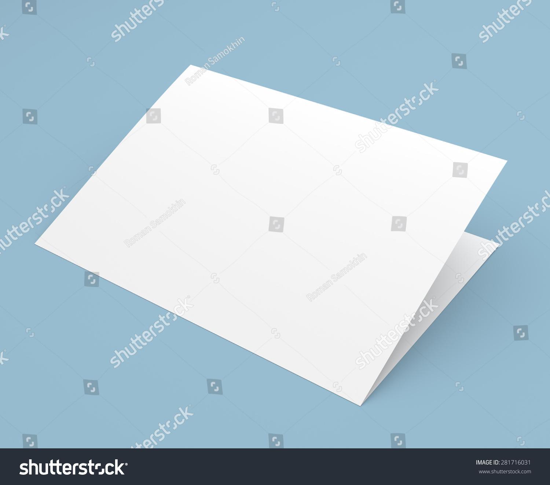 空白折叠传单,小册子,明信片,名片,宣传册在蓝色背景图片