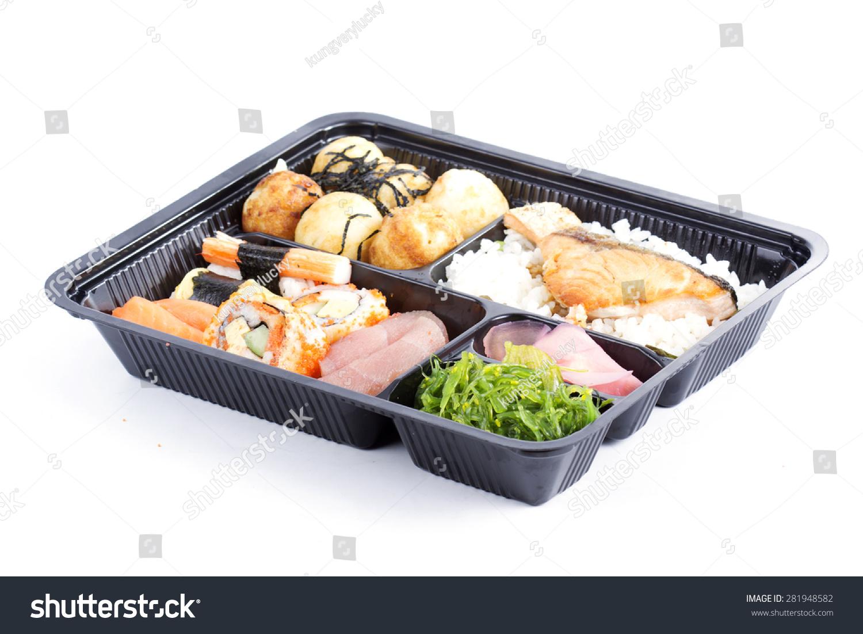 沙拉寿司&卷/日本饭盒子(盒饭)白色背景