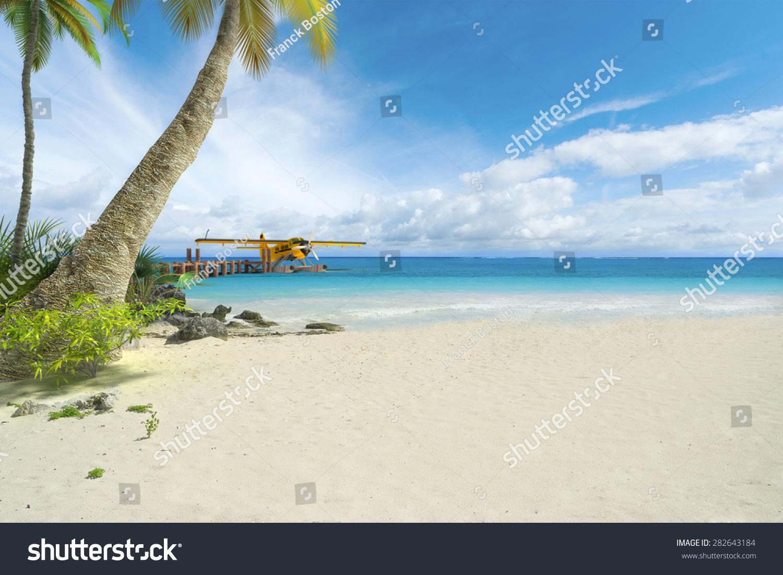 3d渲染的一架水上飞机在热带海滩码头的尽头-交通