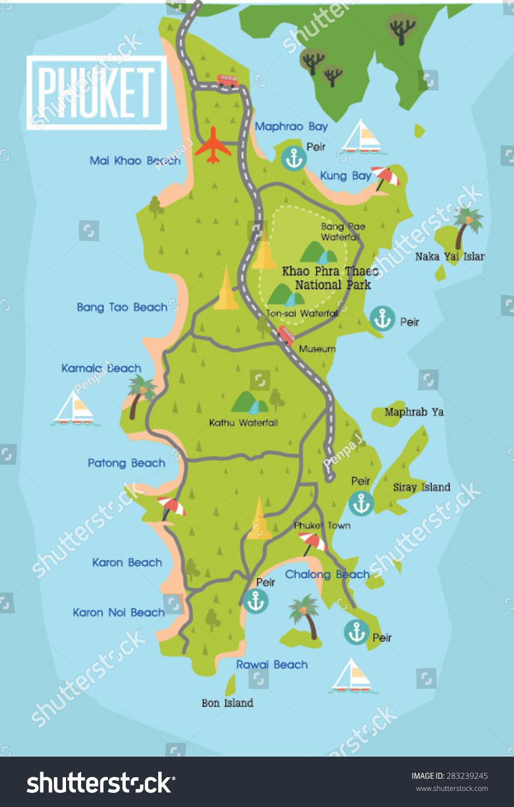 在泰国普吉岛旅游地图矢量-交通运输,假期-海洛创意()