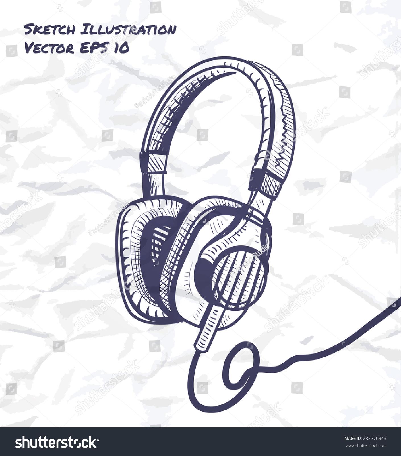 耳机工业设计草图矢量插图-物体,科技-海洛创意()-合.