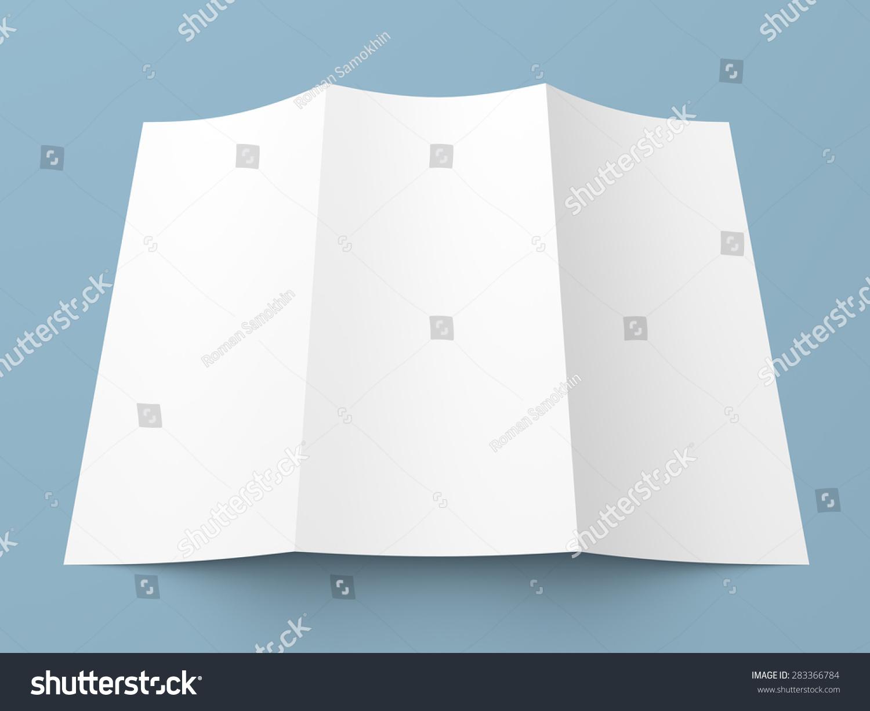 传单空白三折叠白皮书宣传册在蓝色背景模型-商业图片