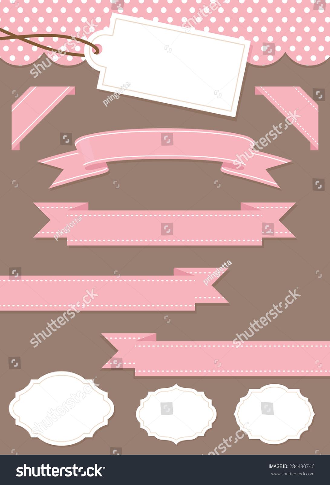 粉色主题丝带和文本框为您的博客.-背景/素材,抽象-()