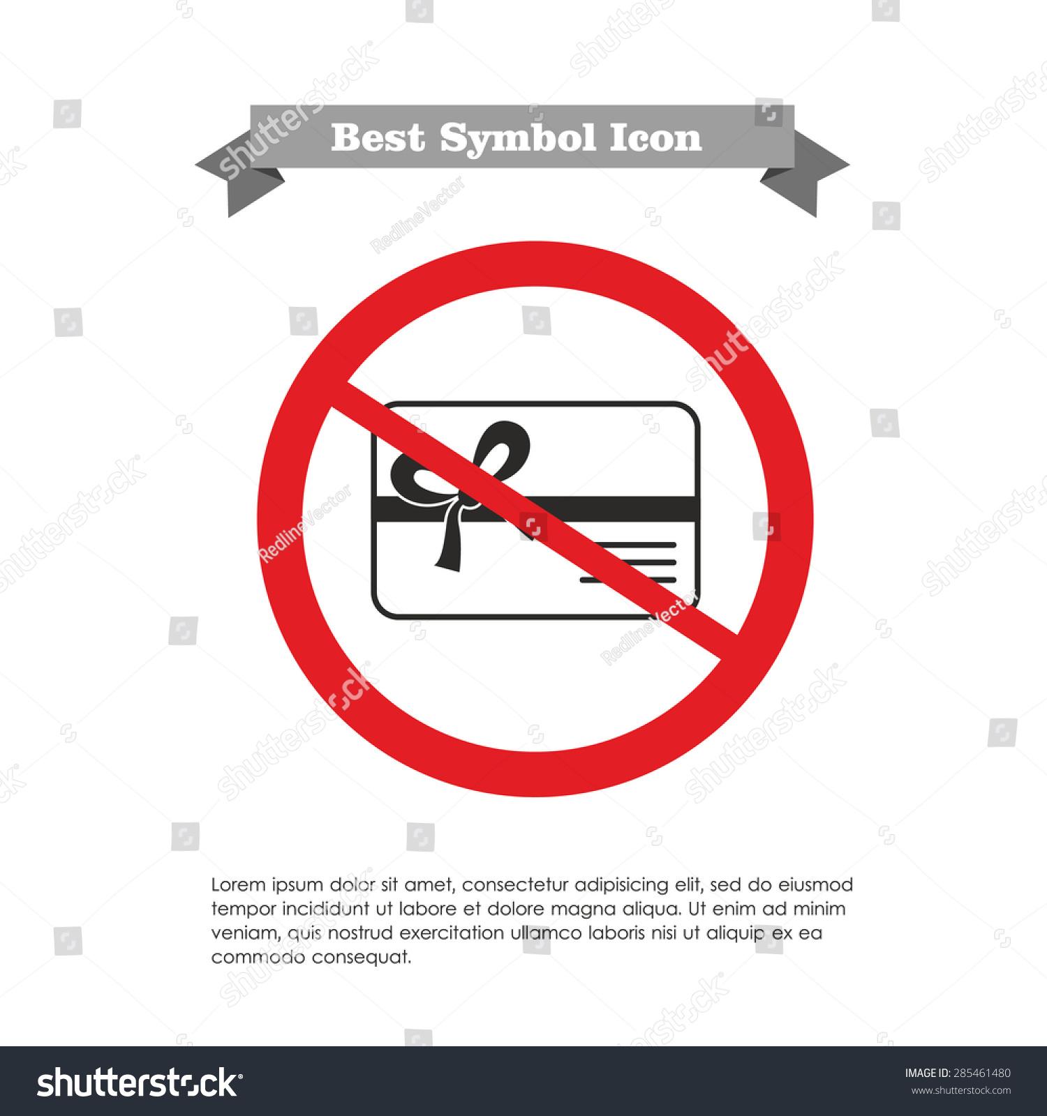 矢量图标礼品卡丝带和蝴蝶结的禁止符号,文本灰色丝带