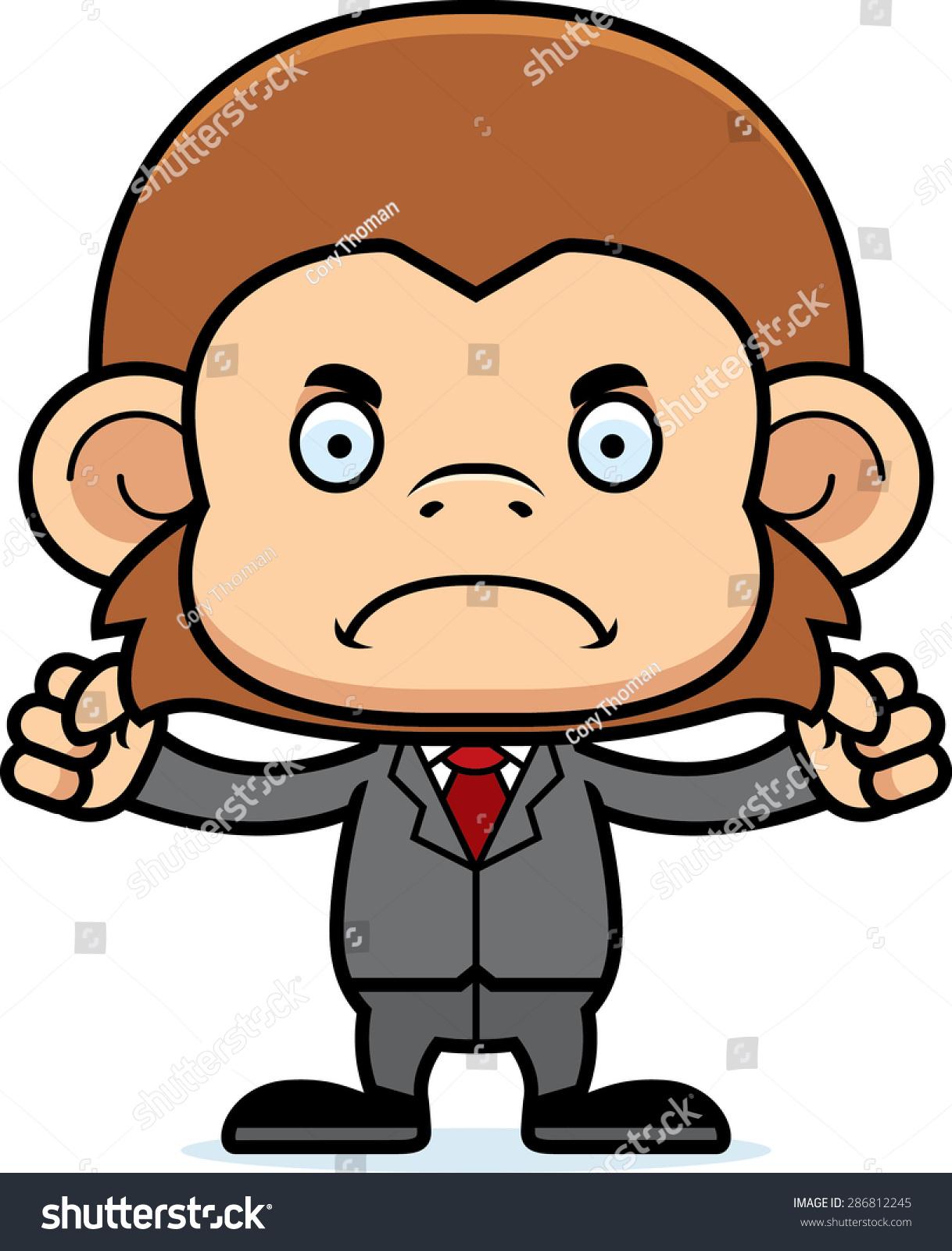 一个卡通商人猴子看起来很生气.-动物/野生生物-海洛