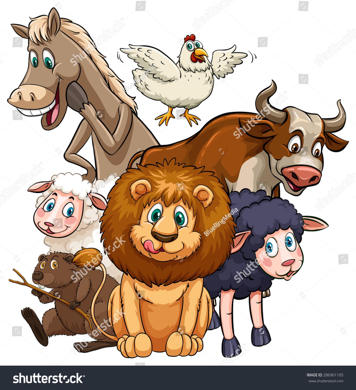 可爱的动物角色在白色的背景-动物/野生生物-海洛