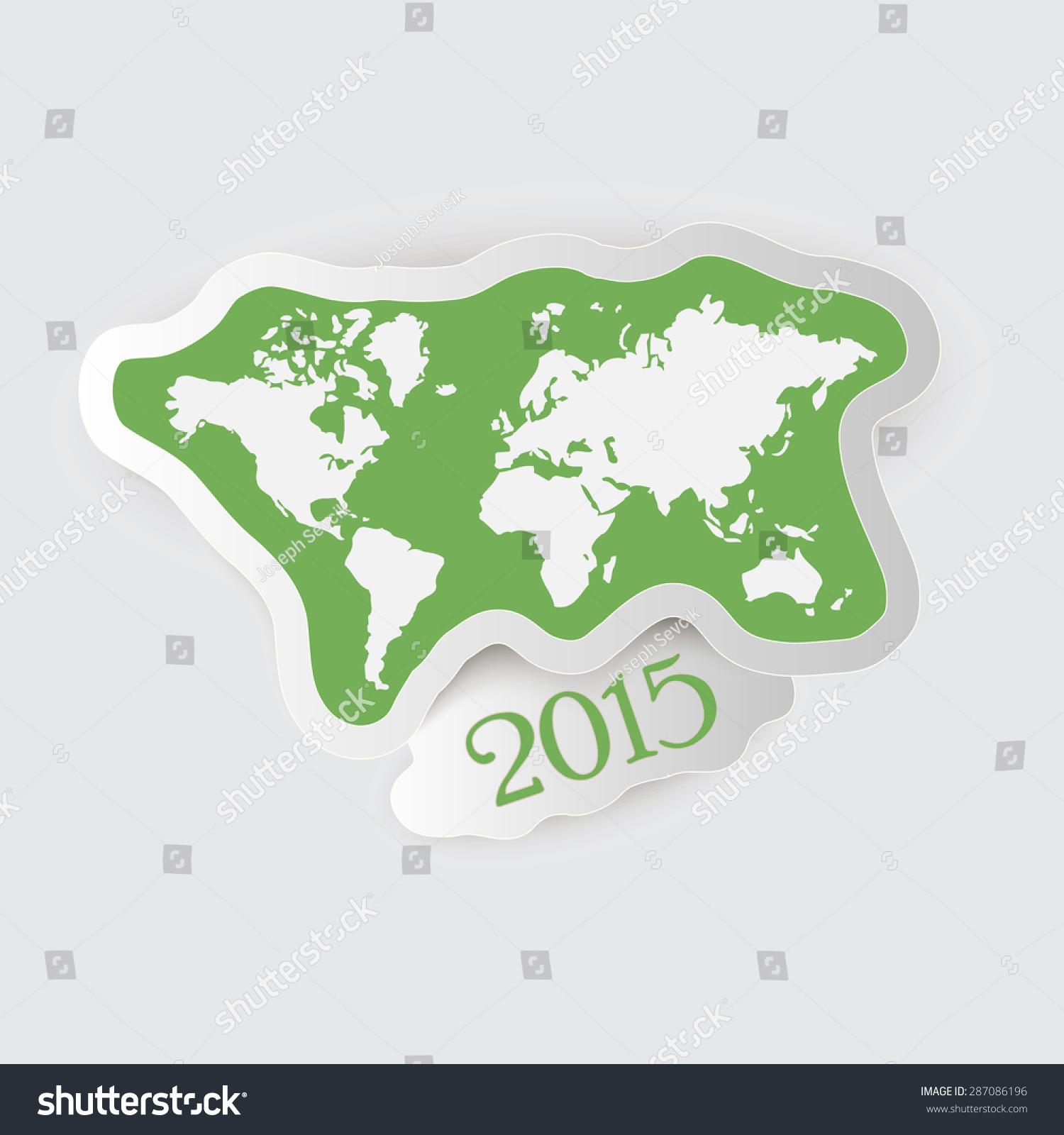 2015年世界地图和纸标签-背景/素材,抽象-海洛创意()