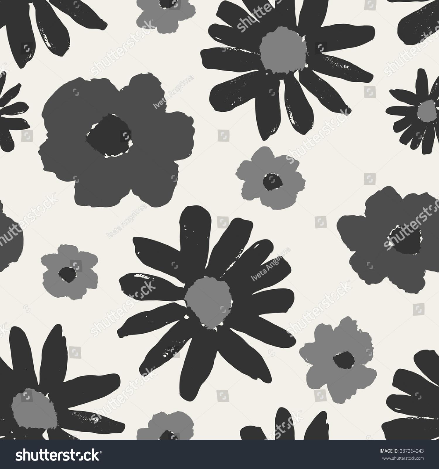 单色无缝重复模式与手绘花朵.