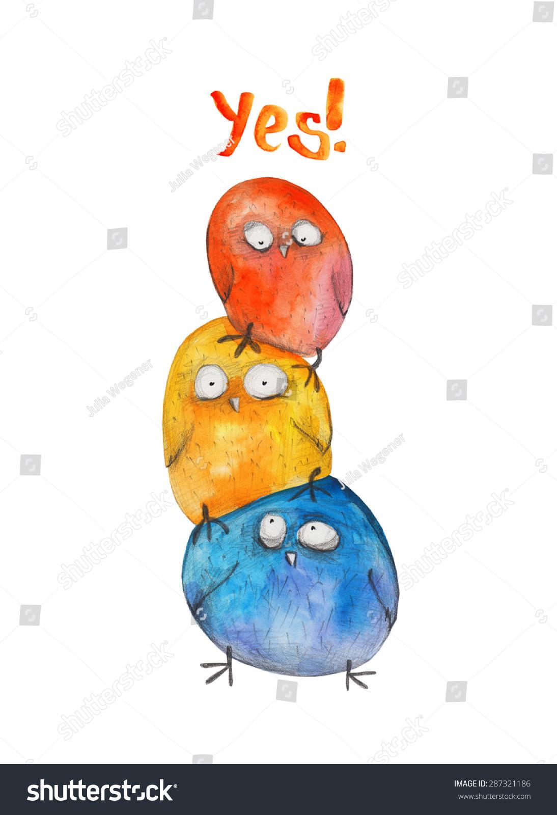 3鸟类金字塔.是的!水彩插图.手绘-动物/野生生物,艺术