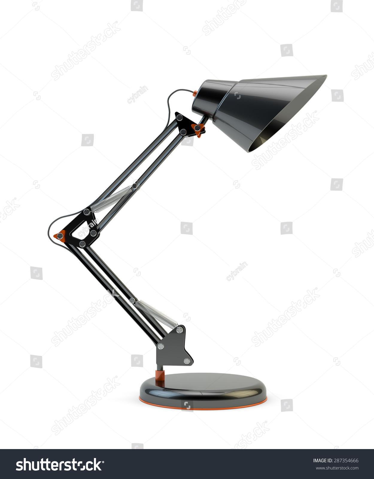 现代设计的黑色办公室台灯孤立在白色背景