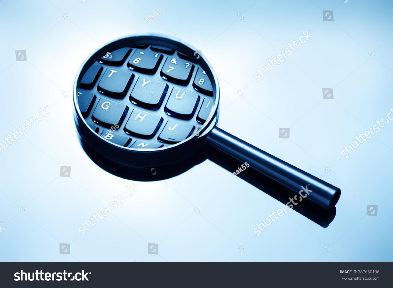 放大镜和电脑键盘.-科技,符号/标志-海洛创意(hellorf