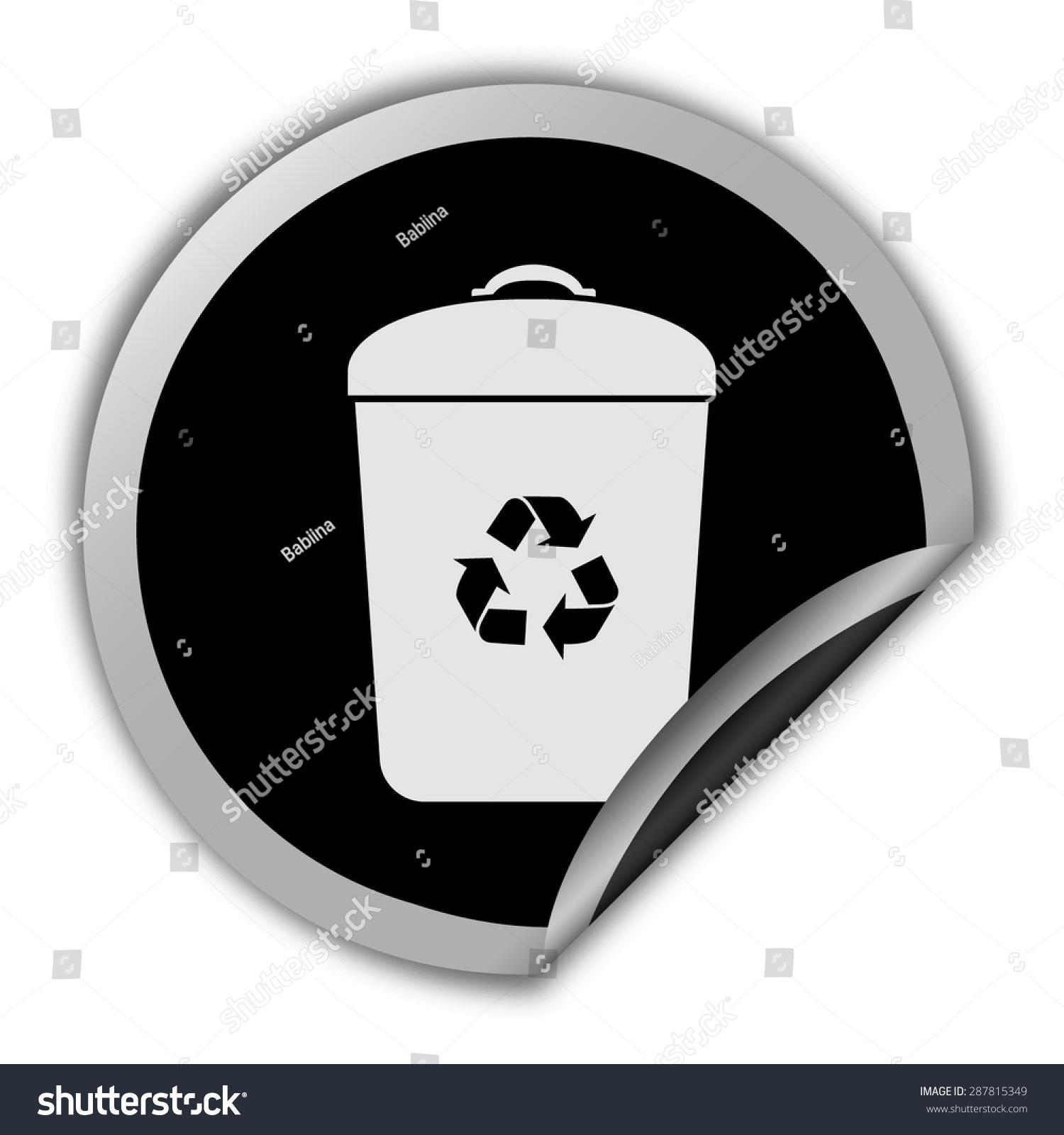 垃圾桶图标——圆向量贴纸-科技,符号/标志-海洛创意
