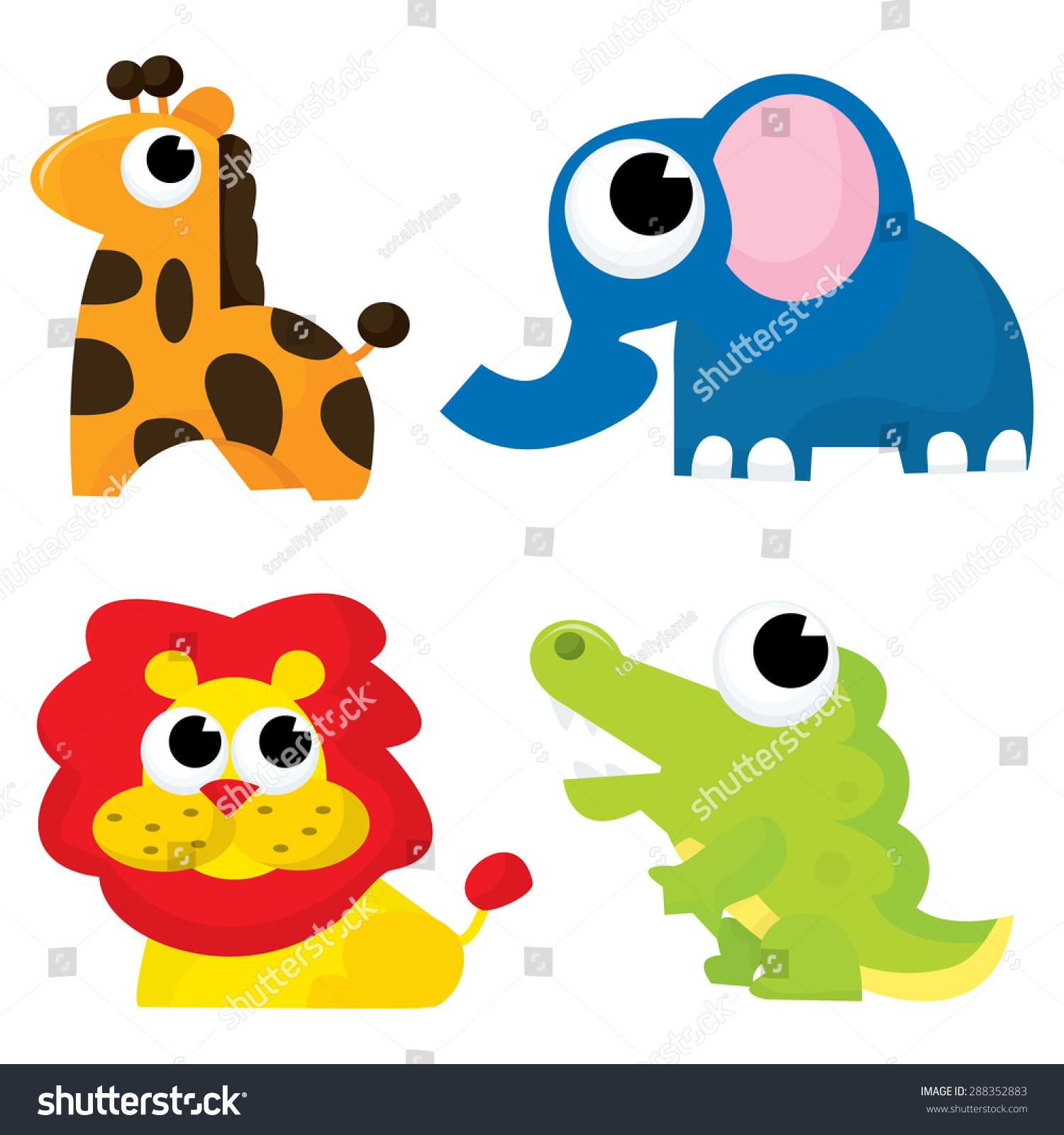 一组四个野生卡通动物,像长颈鹿,大象,狮子和鳄鱼.