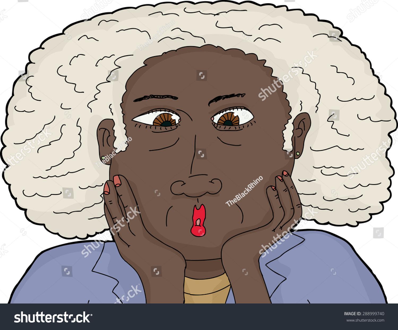 近距离的卡通惊讶成熟的黑人女性-人物-海洛创意()-合图片