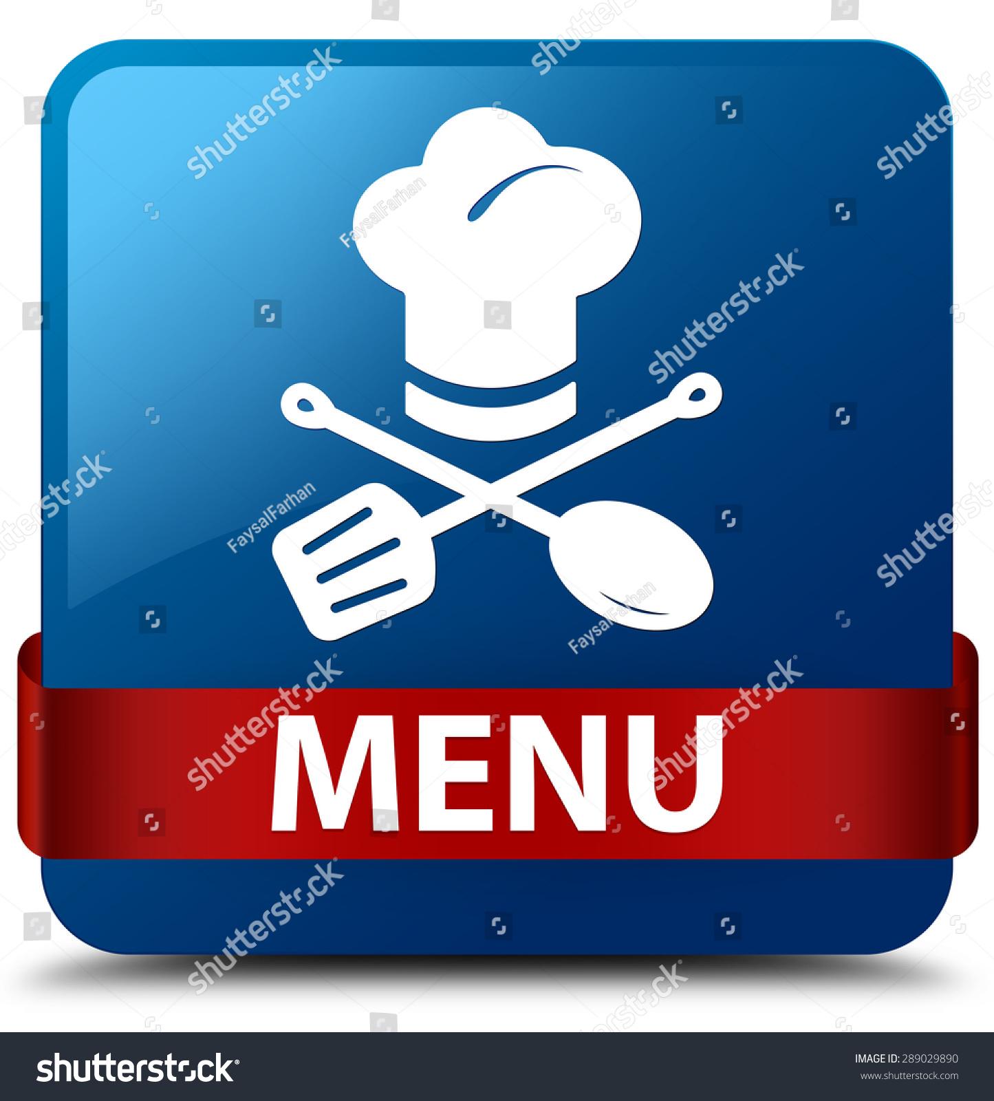 菜单(餐厅图标)蓝色正方形按钮-食品及饮料,符号/标志