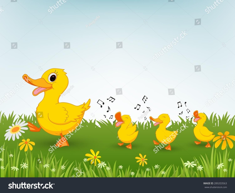 幸福的鸭子卡通-动物/野生生物