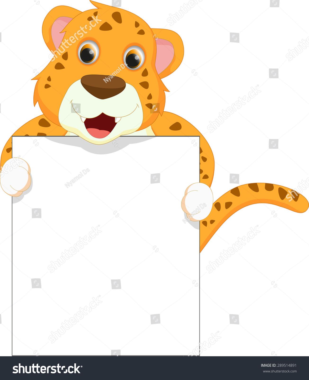 可爱的豹卡通空白的迹象-动物/野生生物-海洛创意()-.