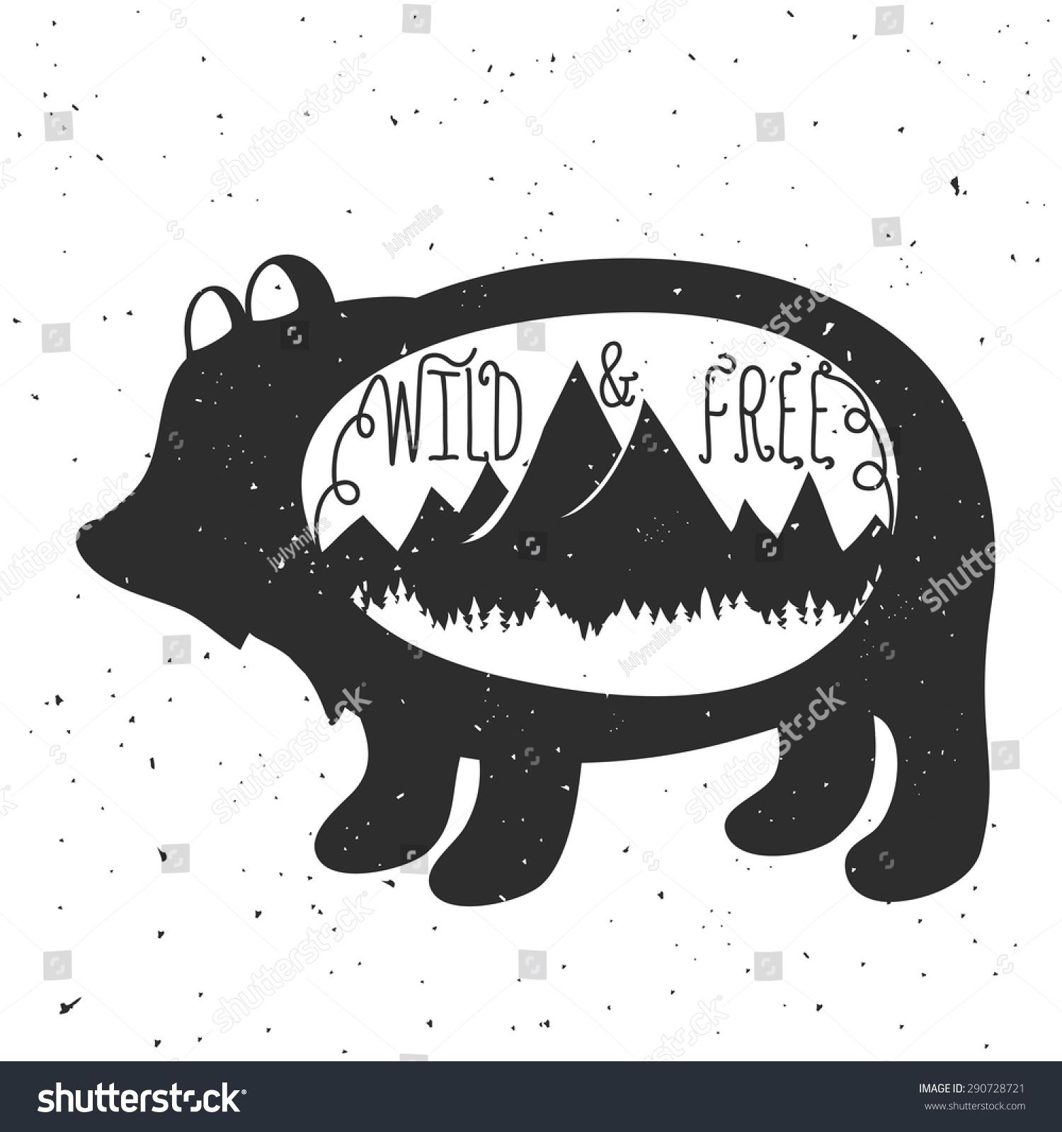 老式黑白矢量手绘插图.野生和自由