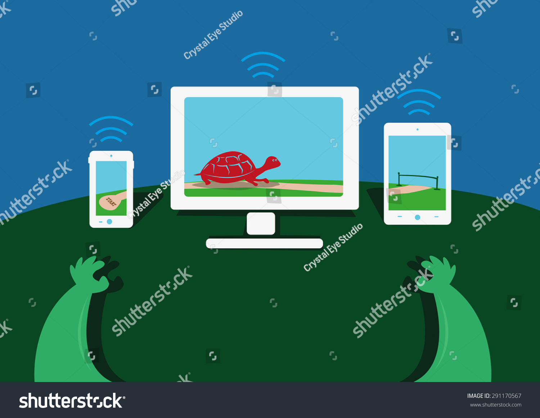 显示了一只乌龟从一个设备图片