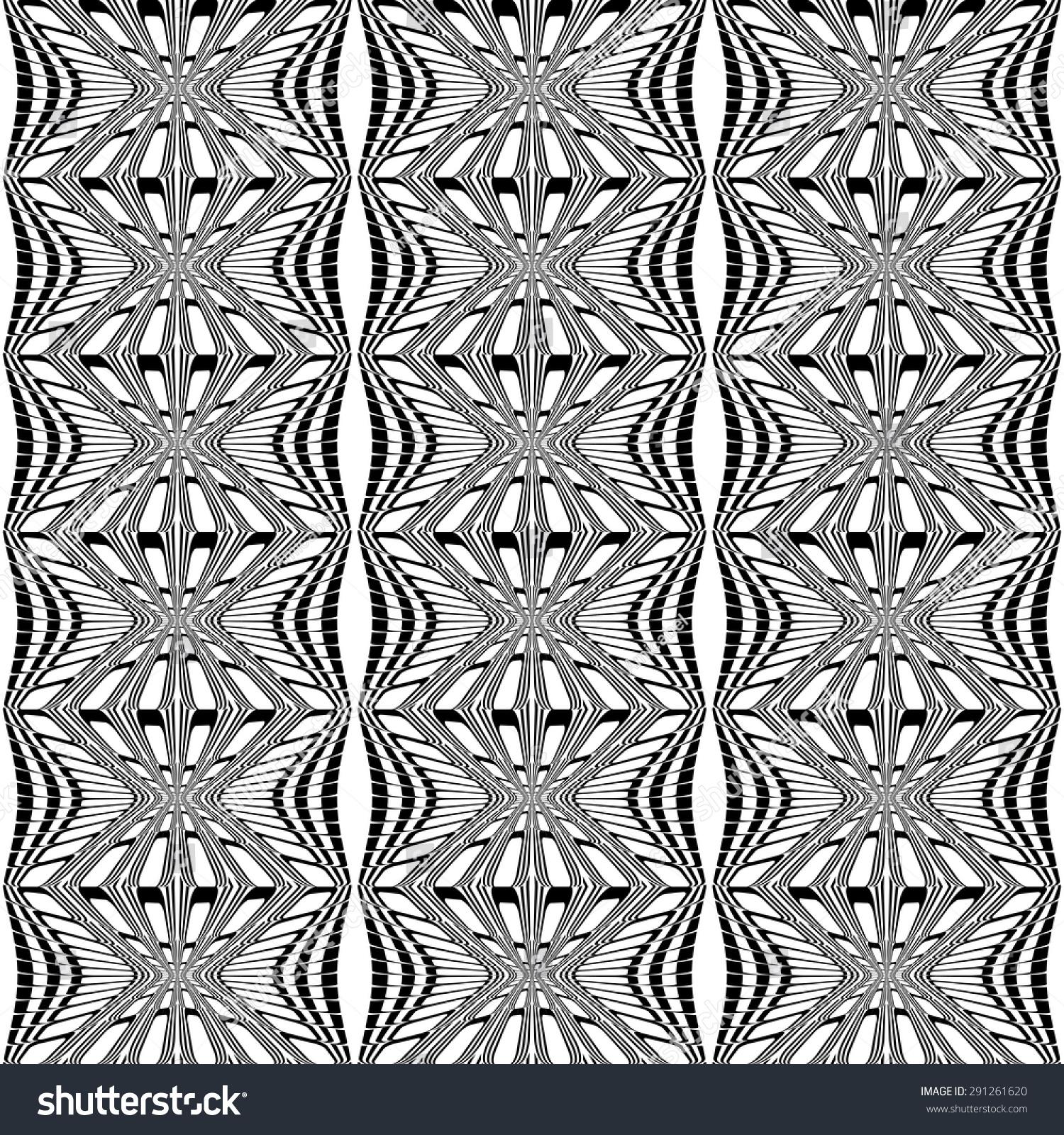 黑白条纹图案设计无缝.扭曲变形的背景.矢量艺术-背景