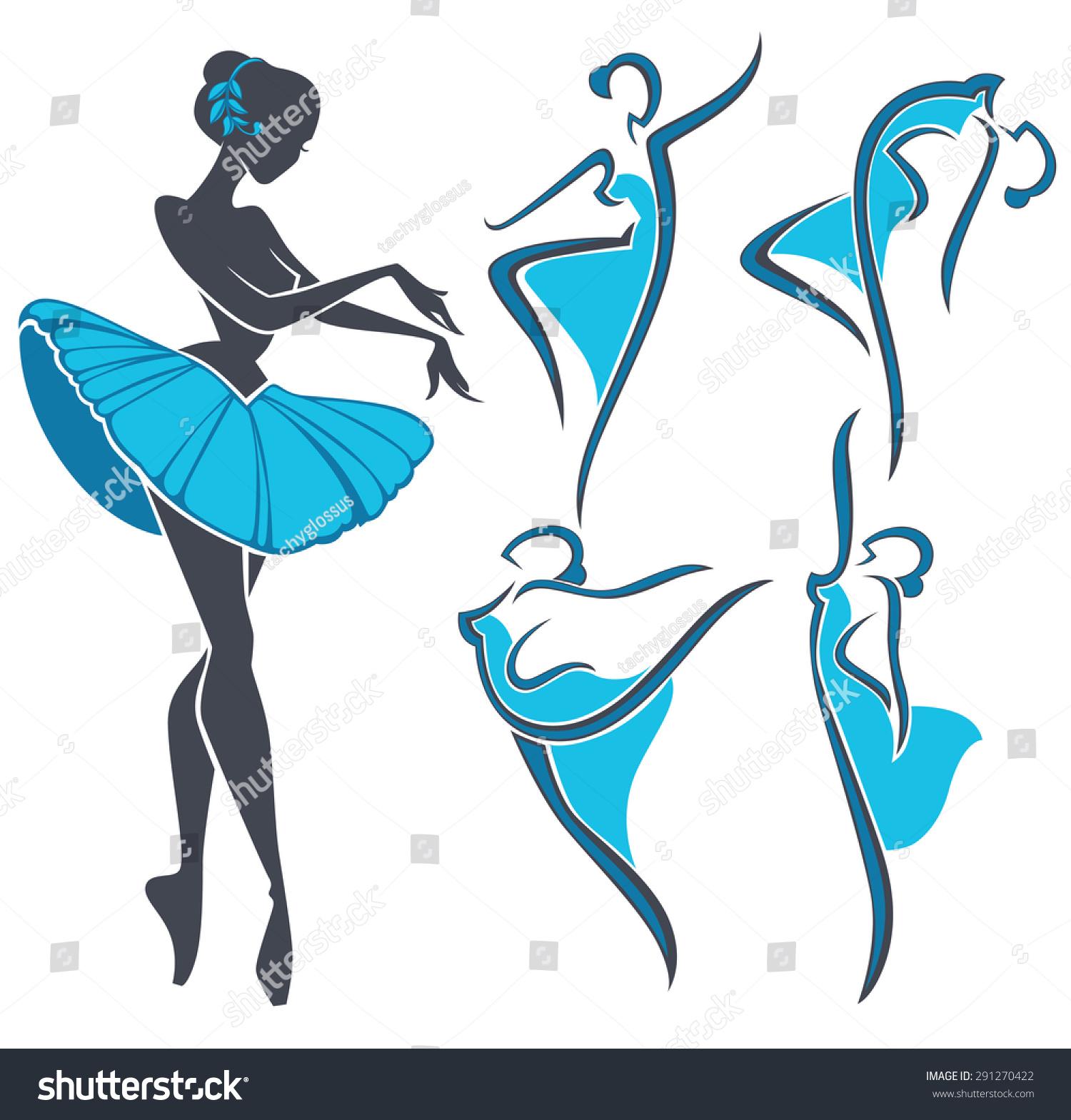 美女芭蕾舞者的剪影,矢量集-艺术,美容/时装服饰-海洛